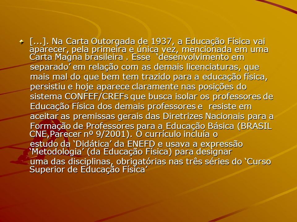 [...]. Na Carta Outorgada de 1937, a Educação Física vai aparecer, pela primeira e única vez, mencionada em uma Carta Magna brasileira . Esse 'desenvolvimento em